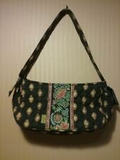 MaggieB Quilted Single Strap Top Zipper Purse with  Vintage Paisley Flowers