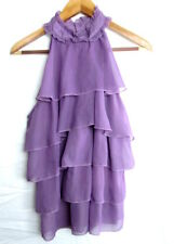 Adiva Womens Purple Lavender Sleeveless Ruffle Shirt Size XL (PB)