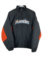 Majestic Miami Marlins Jacket MLB Baseball Bomber Puff Black Orange Youth L