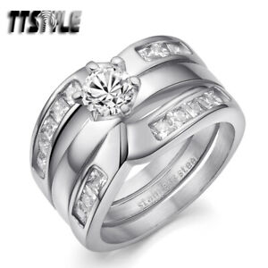 LuxuryTTstyle Princess Cut THICK Silver S.Steel Engagement Wedding Band Ring Set