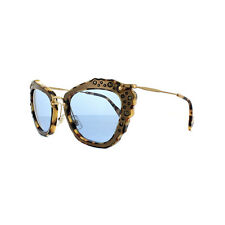 4a9071206d MIU MIU Mu 04qs Dhf- 0a2 Light Havana Embellished Cat Eye Sunglasses Blue  Lense