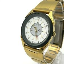 Vintage LUCH Alarm Signal Bicolored Quartz Men Formal NOS Wristwatch TESTED 90s