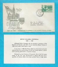Canada 1958 Fdc - Province Of British Columbia w/ Info Card - Scott 377 - N743