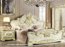 Barock Hochglanz Schlafzimmer Bett 180x200 2xNachttisch Art Stilmöbel Italien