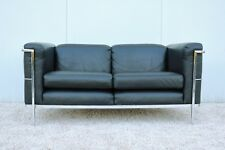 Le Corbusier 1928 LC2 Style Loveseat Settee in Black Leather by Jack Cartwright