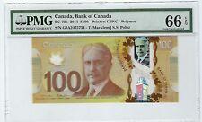 Canada $100 Dollars  2011 Polymer BC-73b PMG GEM UNC 66 EPQ GJA Changeover