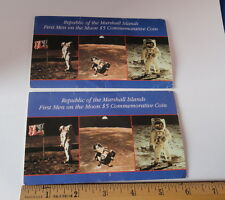Two Marshall Islands 1st Men on the Moon $5 Commemorative Coins in Folders