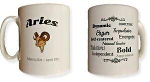 Aries Star Sign Mug. Zodiac Mug With Description Of Aries. Birthday Gift Ideas