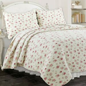 Pink Rose Garden 100% Cotton Quilt Set, Bedspread, Coverlet