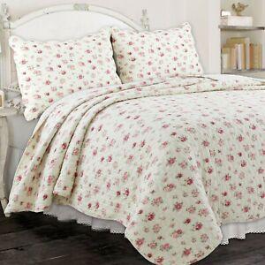 Pink Rose Garden 100% Cotton Quilt Set, Bedspread, Coverlet