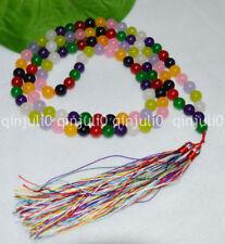 8mm Multi-Color Jade Tibet Buddhist 108 Prayer Beads Mala Necklace JN485