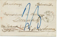 """2457 1860 stampless unpaid small lady cover from """"LONDON"""" to REGENSBURG Bavaria"""