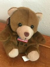 Flag Backpack Hanger Key Chain – 4 inch Gently Used Brown Plush Pudgy Bear w Usa