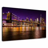 Brooklyn Bridge At Night Nyc New York City Skyline Canvas Wall Art Picture Print