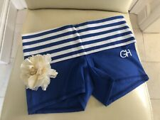 GILLY HICKS BLUE WITH STRIPE ROLL DOWN WAIST BED SHORTS UK SMALL NEW TAG