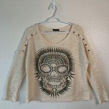 Women's Jaymy Cream Skull Long Sleeve Blouse• Studs On Skull Design• Size Small