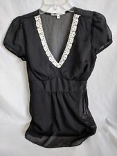 Women's Hot Kiss Black Sheer Lace V Neck Short Sleeve Blouse Size M