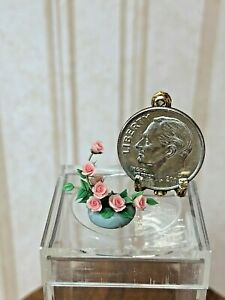 """Dollhouse Miniature Artisan 1/4"""" or 1/2"""" Scale Pink Roses in Grey Vase 1:12"""