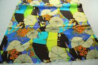 FLAW VTG 60s 70s Spilkes Screen Printed Polyester Fabric Mod Op Art Hippy Scrap