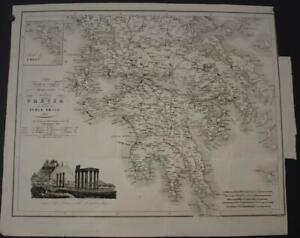 GREECE & GREEK IONIAN ISLANDS 1847 NAYMILLER ANTIQUE ORIGINAL LITHOGRAPHIC MAP