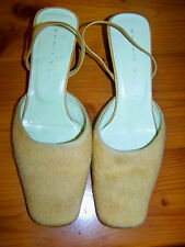 Robert Roberts Beige leather /fur sling back ladies shoes -Size 7 (37)