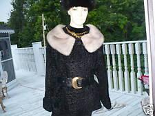 Black broadtail & Platnium mink fur bolero jacket M