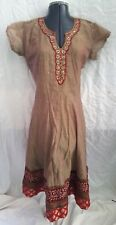 Gorgeous Olive Green Red Tinge Indian Dress Beads Sequins Fancy V-Neck Hem XL