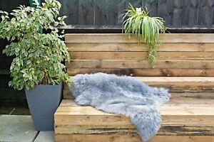 Genuine Single Sheepskin Rug - Silver Color Super Soft Long Wool