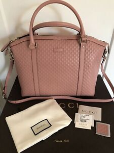 BNWT AUTH GUCCI LARGE MICRO GG GUCCISSIMA PINK LEATHER 2-WAY SATCHEL BAG 449658