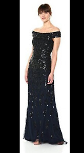 ADRIANNA PAPELL LADIES NAVY BLUE BLACK BEADED OFF THE SHOULDER MAXI DRESS SIZ 16