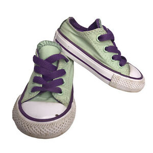 Converse 4 All Star Baby 4 Infants Mint Green Purple laces Athletic Sneaker Shoe