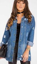 Womens Longline Distressed Oversize Denim Jacket in Stonewash Blue (RRP £47.99