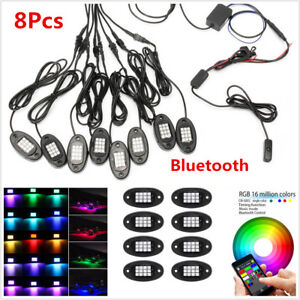 8Pcs RGB Auto Car Under Body LED Rock Light Wireless Bluetooth APP Phone Control