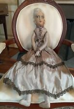 """Antique French Boudoir Doll, Org Clothing, Painted Silk Face, Plaited Hair 32"""""""