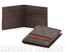 GUCCI Men brown GUCCISSIMA Leather Green/Red WEB ribbon Bifold wallet NIB Authen