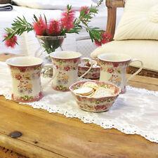 Set Of 6 Ceramic Shabby Vintage Style English Flower Tea Cups Coffee Mugs