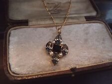 Vintage Jewellery Black Diamond Grey, Jet Black Crystal  & Pearl Necklace