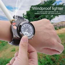 2 in 1 USB Rechargeable Cigarette Lighter Windproof Flameless + Watch Wristwatch