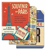 Cavallini - 3 Mini Quaderni - Vintage Parigi - Foderato,Vuoto & Grafico