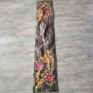 """Pier1 Imports Brown Floral Embroidered Table Runner 13"""" x 72"""" Boho Spring Autumn"""