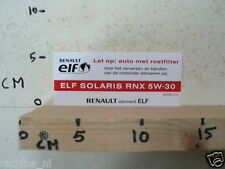 STICKER,DECAL RENAULT ELF ELF SOLARIS RNX 5W-30 ACEA C3 OLIE OIL ELF