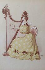 ROEDEL Auguste  La Romance L'estampe Moderne art nouveau XIXe Harpe 1899