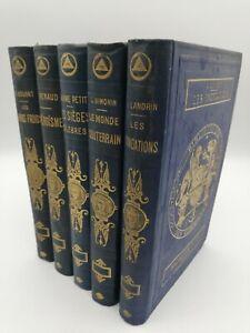 CHARTON BIBLIOTHEQUE DES MERVEILLES LOT 5 VOLUMES HACHETTE CARTONNAGE ILLUSTRE