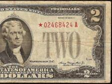 STAR 1928D $2 DOLLAR UNITED STATES LEGAL TENDER RED SEAL NOTE OLD PAPER MONEY