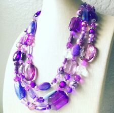 Handmade Purple Jewel Necklace Big Bead Chunky Statement Jewelry Crystal Lavende