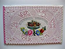Antique 1800s Valentine's Day Card w/ Paper Lace and Scrap Pictures
