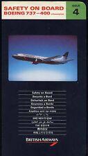 BRITISH AIRWAYS Boeing 737 - 400 airline SAFETY CARD ISSUE 4 sc712 ax