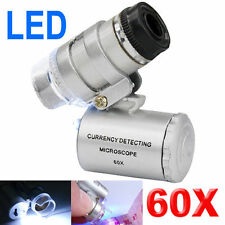 Mini Pocket LED UV Jewellers Loupe 60x Microscope Glass Jewellery Magnifier