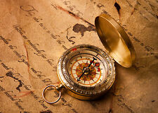 Framed Print - Nautical Compass on an old Manuscript (Picture Poster Maritime)
