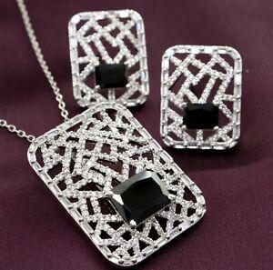Cubic Zirconia Black Designer Pendant Necklace 34 MPS 2